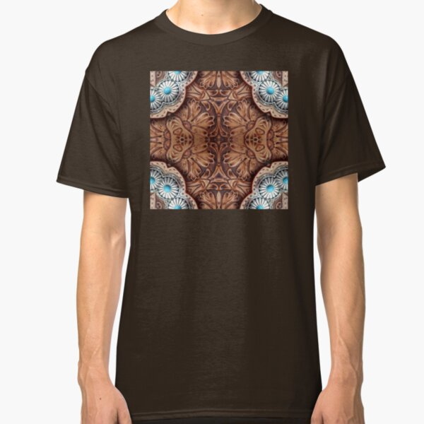 turquoise brown cowboy tribal Western country Tooled Leather Classic T-Shirt