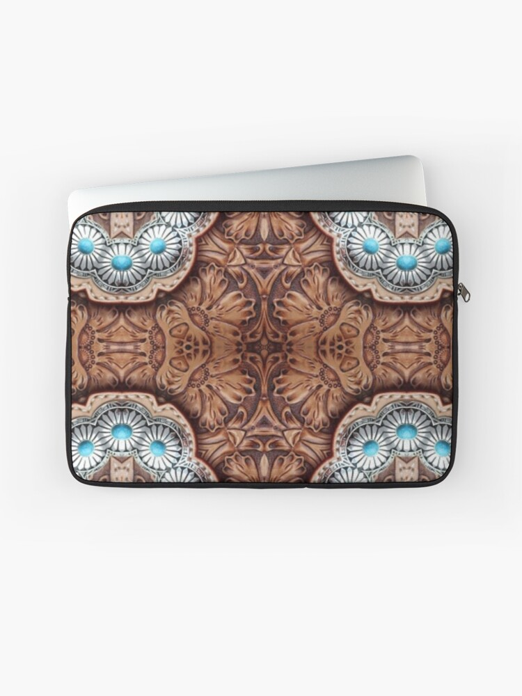 turquoise brown cowboy tribal Western country Tooled Leather iPhone 11 case