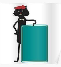 Funny black cartoon cat Poster