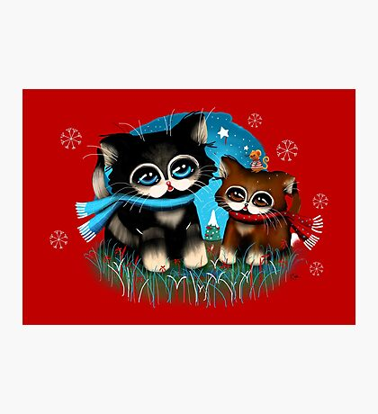 Christmas Kittens Photographic Print
