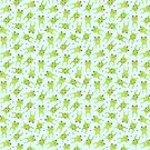 Cute Happy Frogs Pattern on Blue by mycutelobster