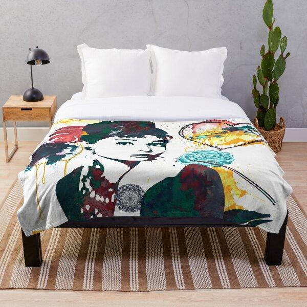 Audrey Hepburn nature colours Throw Blanket