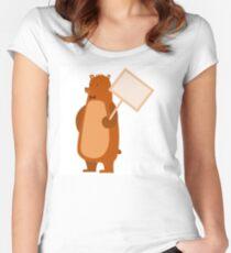 Adorable brown cartoon bear Women's Fitted Scoop T-Shirt