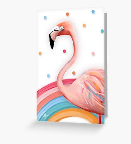 Pink Rainbow Flamingo Greeting Card