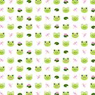 Happy Kawaii Frog Faces on White by mycutelobster