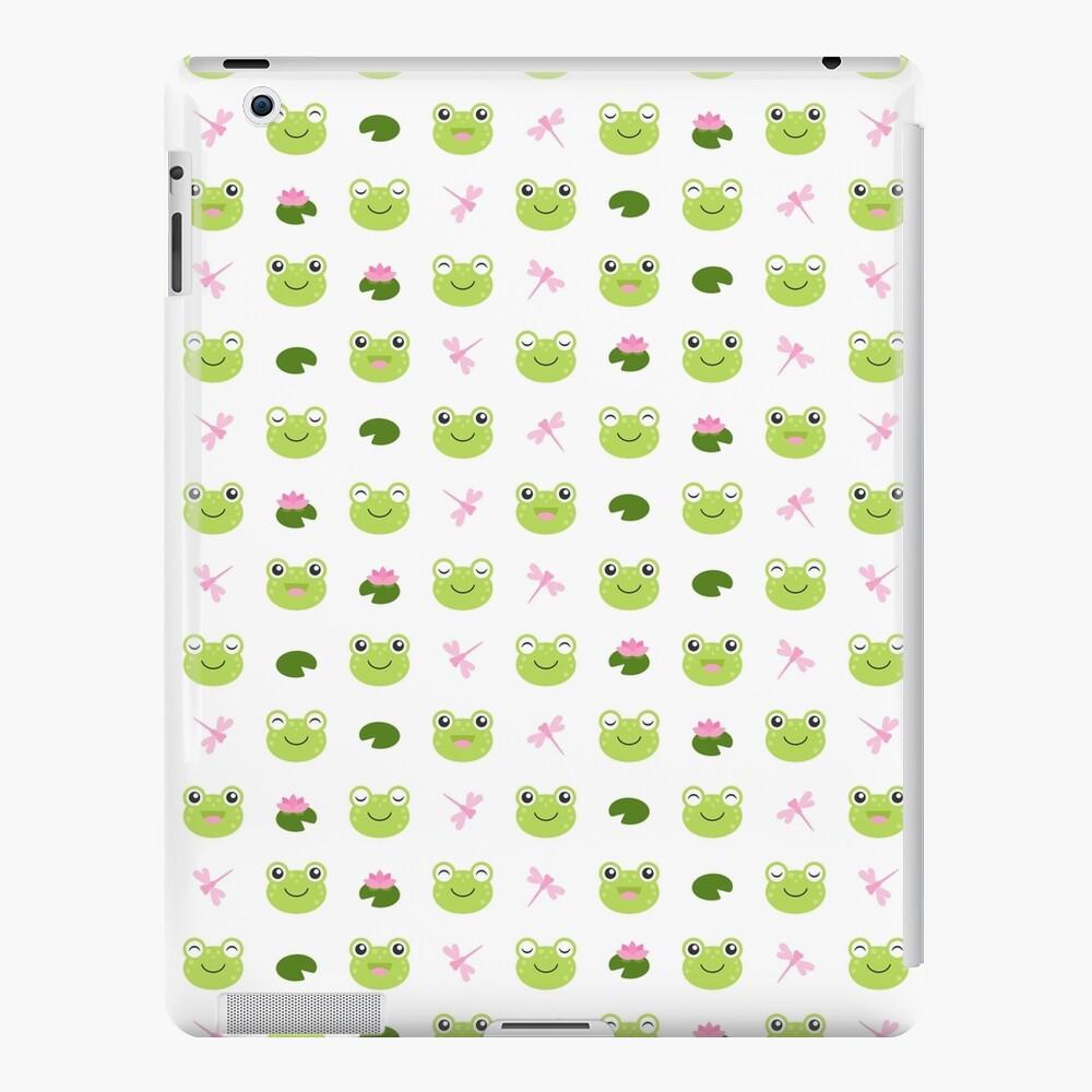 Happy Kawaii Frog Faces on White iPad Case & Skin