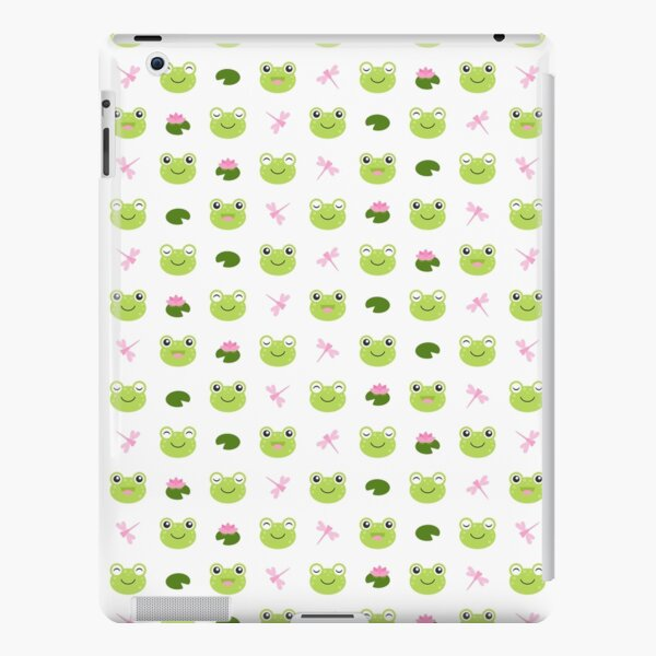 Happy Kawaii Frog Faces on White iPad Snap Case