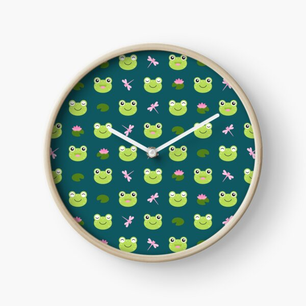 Cute Frog Faces on Teal Clock