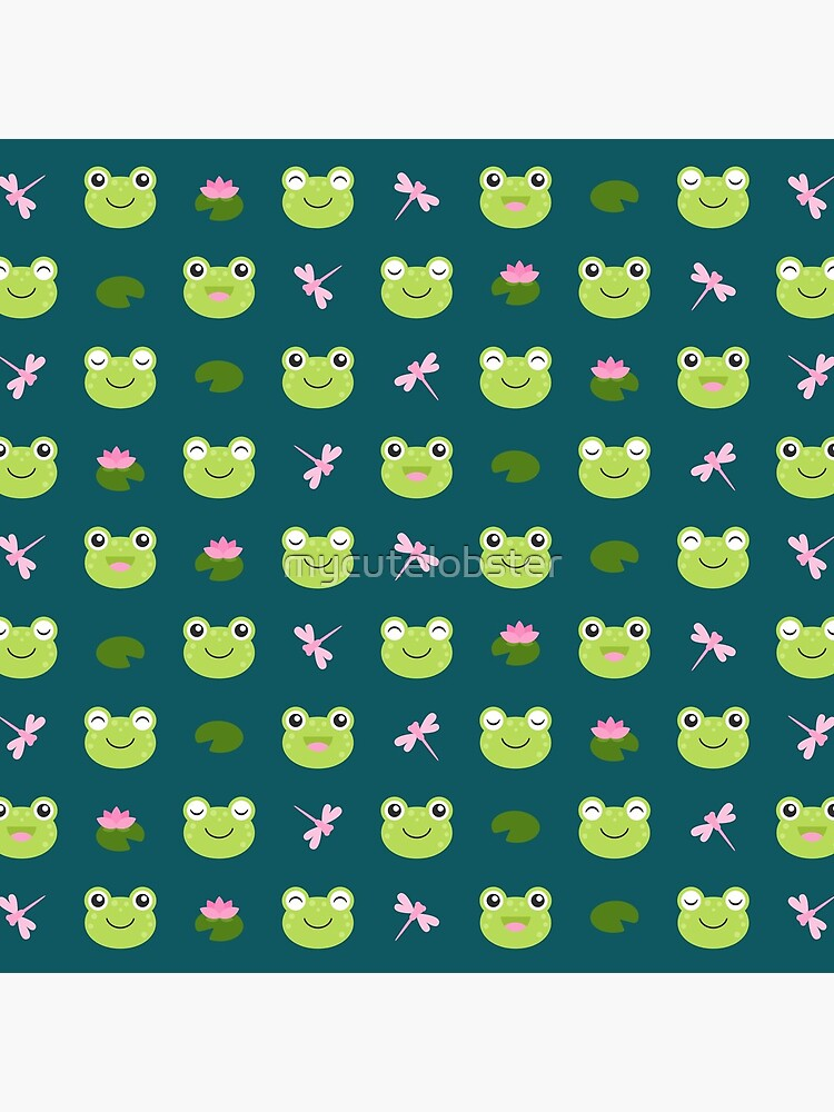 Cute Frog Faces on Teal by mycutelobster