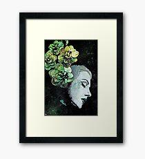 Obey Me (flower girl portrait, spray paint graffiti painting) Framed Print