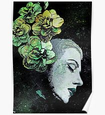 Obey Me (flower girl portrait, spray paint graffiti painting) Poster
