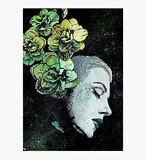 Obey Me (flower girl portrait, spray paint graffiti painting) Photographic Print