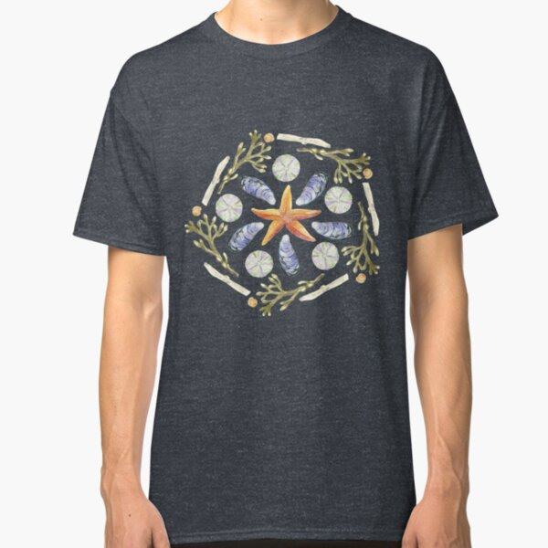 Tide Pool Beach Mandala 3 - Watercolor - Plum Classic T-Shirt