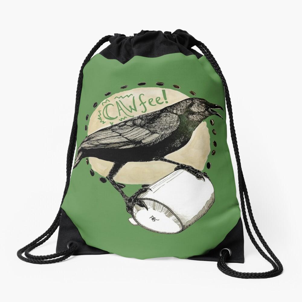 Crows love CAW-fee Drawstring Bag