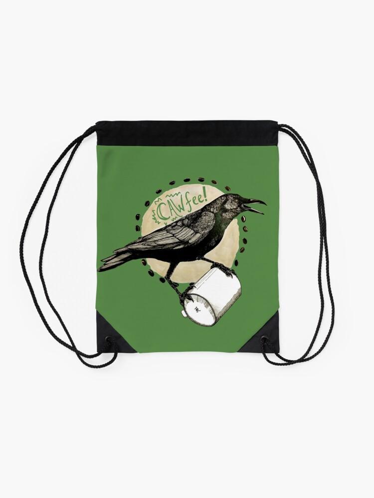 Alternate view of Crows love CAW-fee Drawstring Bag