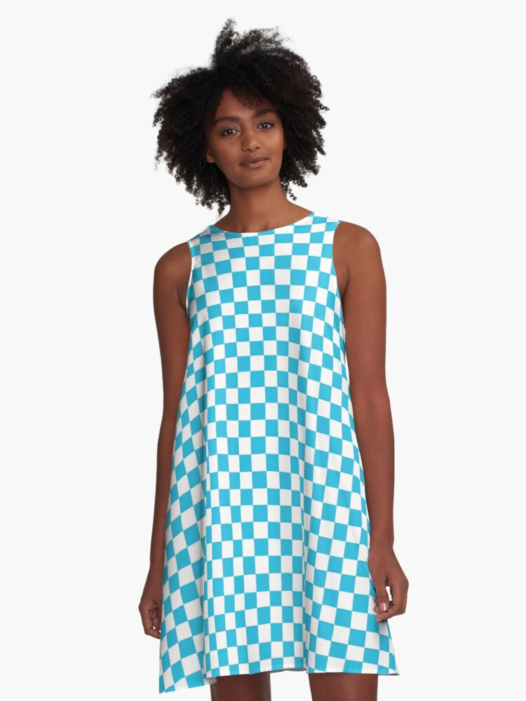 Blue And White Checkered Print A-Line Dress Front