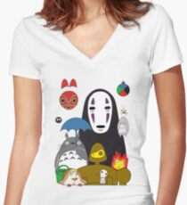 Ghibli mix Women's Fitted V-Neck T-Shirt