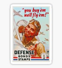 WW2 Pilot Defense Bonds & Stamps Propaganda Sticker