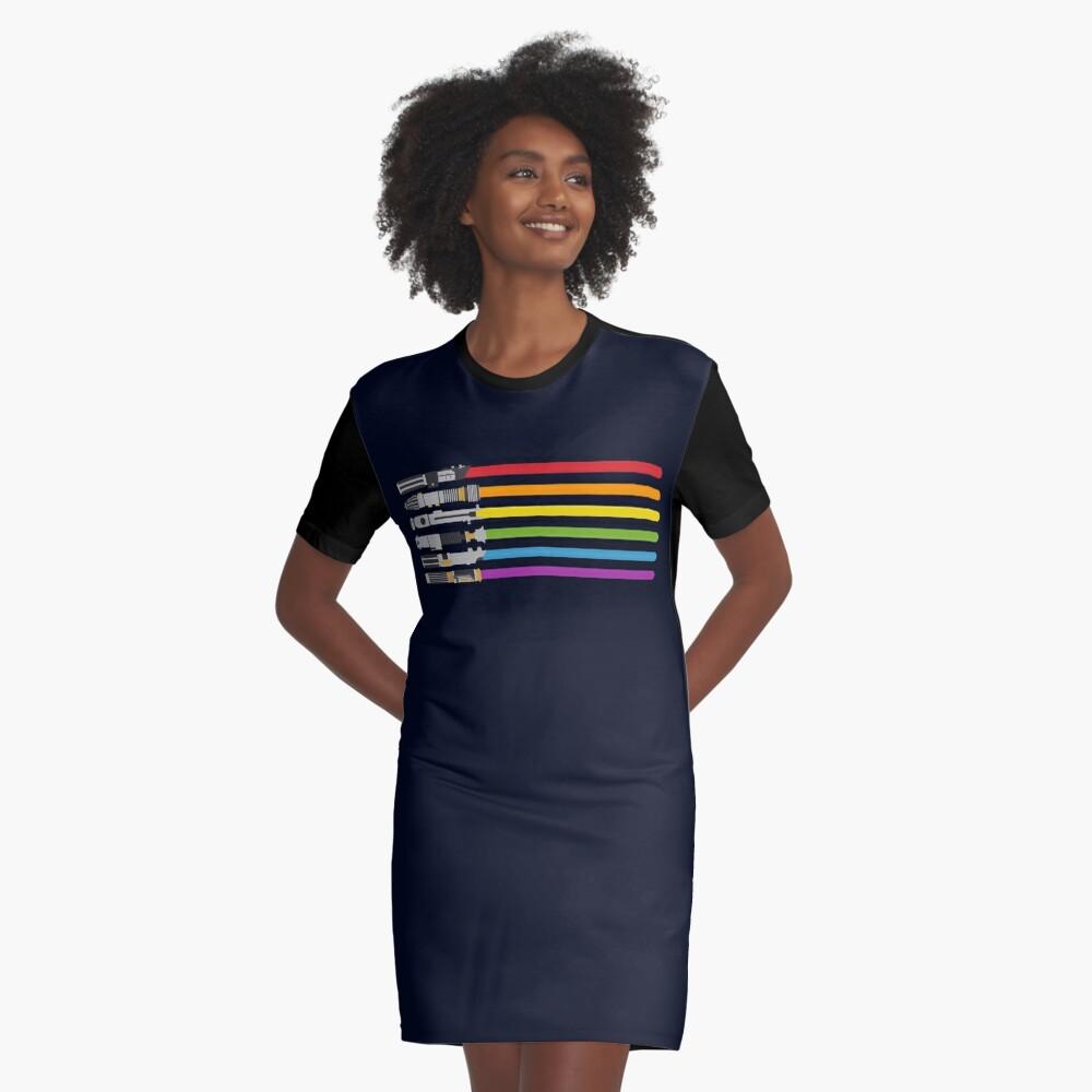 Lightsaber Rainbow Graphic T-Shirt Dress