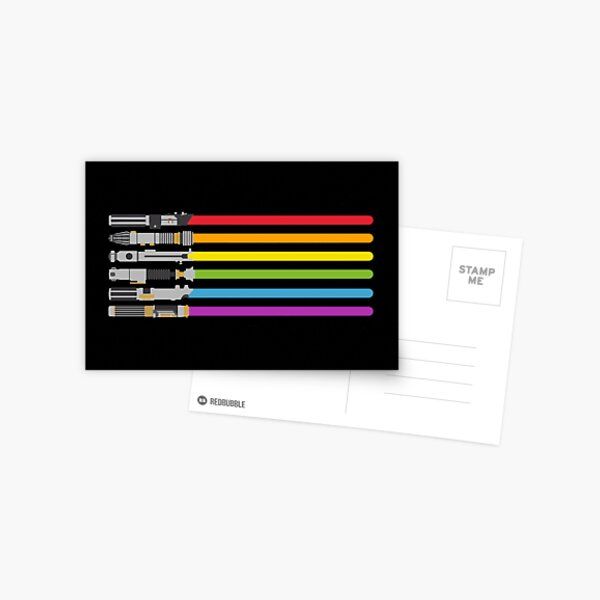 Lightsaber Rainbow Postcard