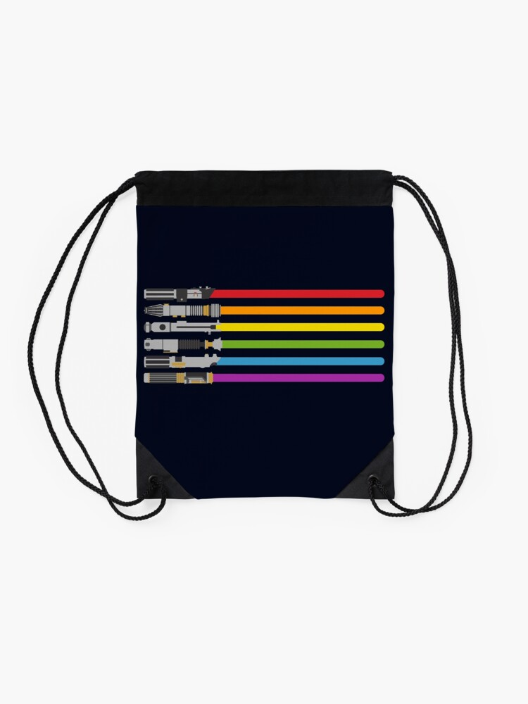 Alternate view of Lightsaber Rainbow Drawstring Bag