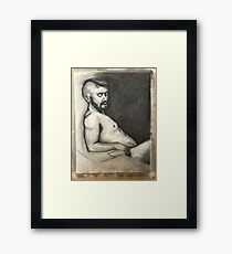 Charcoal Life Drawing Portrait Focus Framed Print