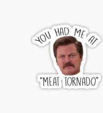 Ron Swanson Parks and Red Meat Tornado Sticker