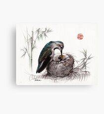 """""""A Mother's Love"""" - Mother Hummingbird and Baby Canvas Print"""