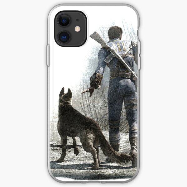 Fallout 4 Vault Dweller and Dogmeat Drawing iPhone Soft Case