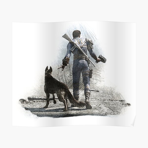 Fallout 4 Vault Dweller and Dogmeat Drawing Poster