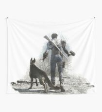 Fallout 4 Vault Dweller and Dogmeat Drawing Wall Tapestry