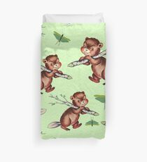 Smiling little beaver carrying a branch pattern Duvet Cover