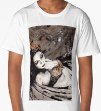 Paper Wings Turned Into Girl (sexy angel girl portrait, redhead in lingerie) Long T-Shirt