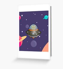Cat in a UFO Greeting Card