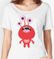 Red funny and silly cartoon monster Women's Relaxed Fit T-Shirt