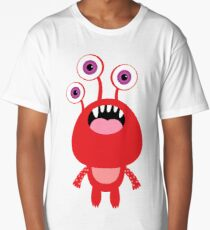 Red funny and silly cartoon monster Long T-Shirt