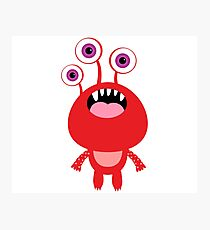 Red funny and silly cartoon monster Photographic Print
