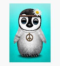 Cute Baby Penguin Hippie Blue Photographic Print
