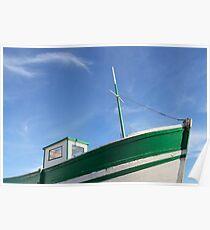 Green old fishing boat Poster