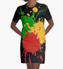 Rastafari Colors - Splashes Green Yellow Red Graphic T-Shirt Dress