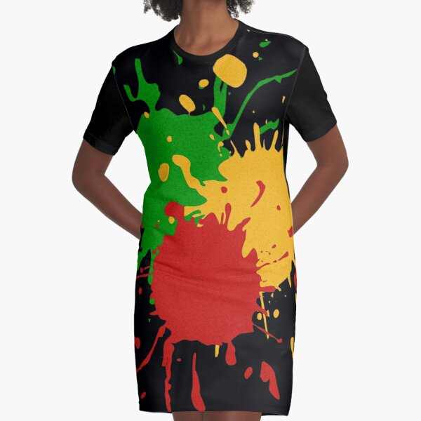 Rastafari Colors - Splashes Green Yellow Red Graphic T-Shirt Dress