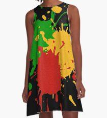 Rastafari-Farben - spritzt grünes gelbes Rot A-Linien Kleid