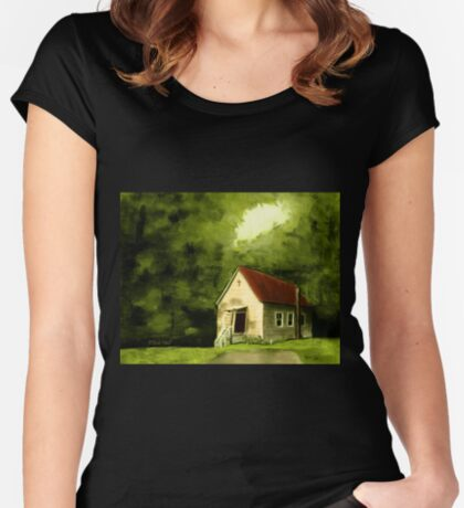 COUNTRY CHURCH, Pastel Painting, for prints and products Women's Fitted Scoop T-Shirt