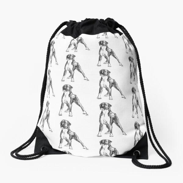 Boxer Dog Drawing Drawstring Bag