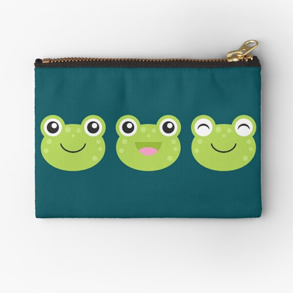 Happy Kawaii Frog Faces Zipper Pouch