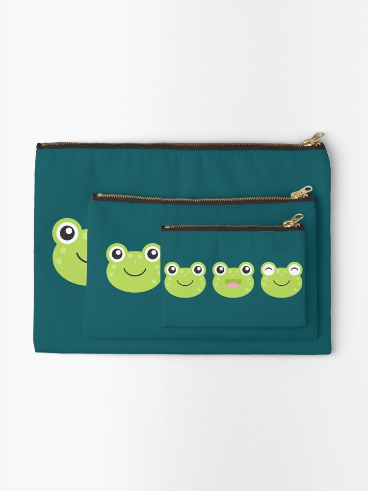 Alternate view of Happy Kawaii Frog Faces Zipper Pouch