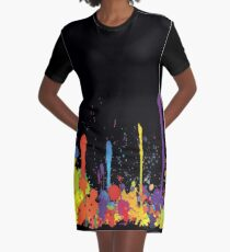 Crazy multicolored running SPLASHES horizontal Graphic T-Shirt Dress