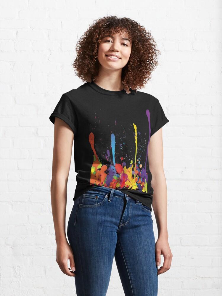 Alternate view of Crazy multicolored running SPLASHES horizontal Classic T-Shirt