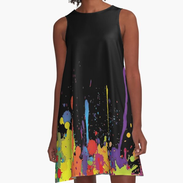 Crazy multicolored running SPLASHES horizontal A-Line Dress