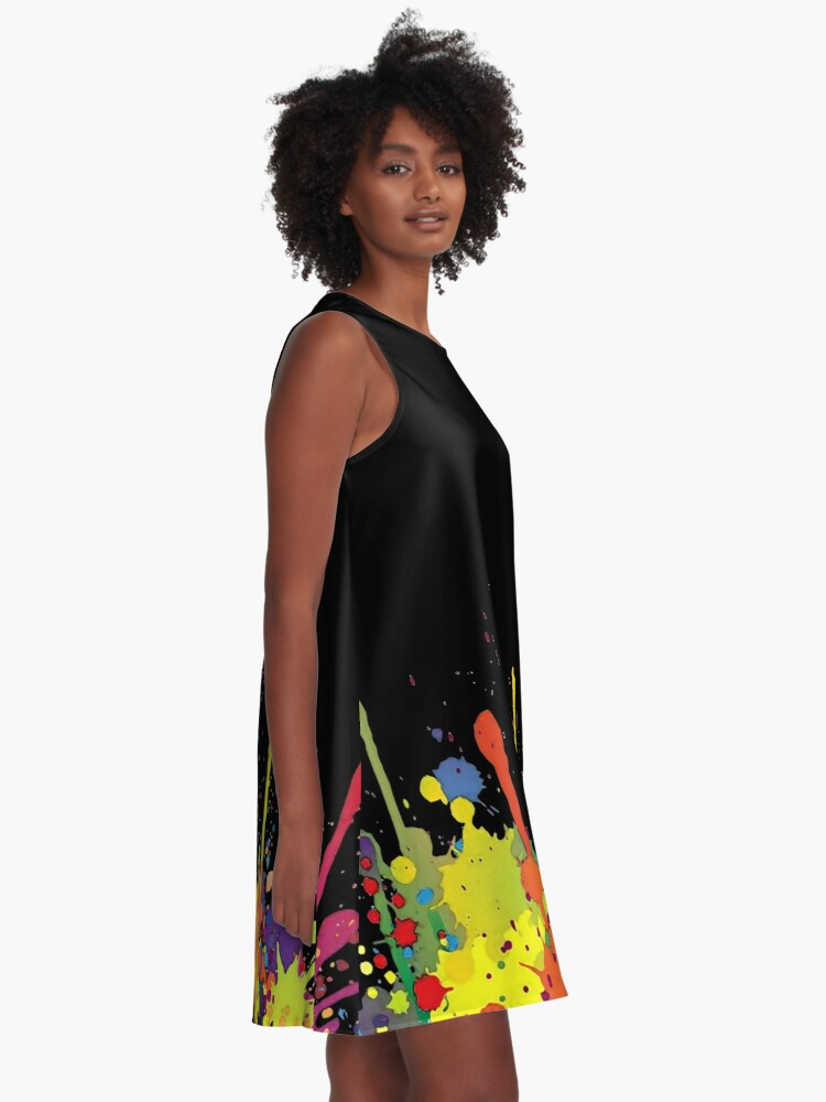Alternate view of Crazy multicolored running SPLASHES horizontal A-Line Dress